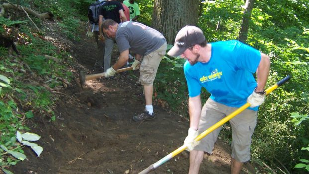National Trails Day is a long-standing tradition at FOW. Here volunteers work the trails on National Trails Day 2013.